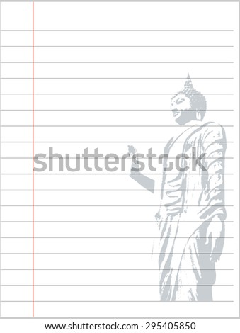 Notebook paper background, Buddha - stock vector
