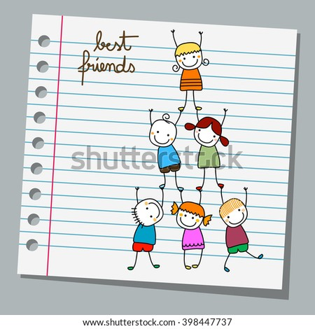 notebook paper best friends, happy kids playing