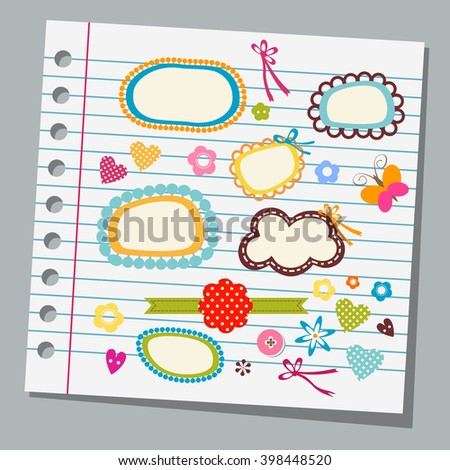 notebook paper child drawings - stock vector