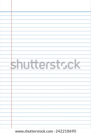 notebook paper full page isolated background empty message - stock vector