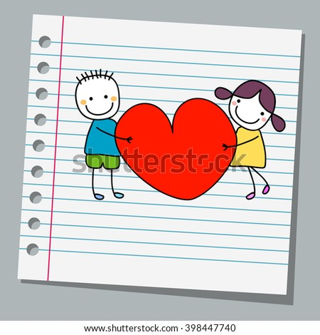 notebook paper happy kids with heart - stock vector