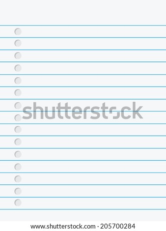 Notebook paper. Illustration on white background. - stock vector