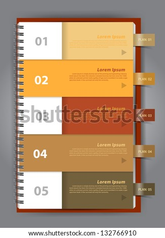 Notebook paper, Modern Design template for infographics numbered, Vector illustration - stock vector