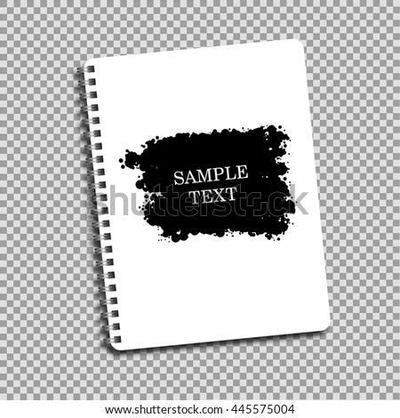Notebook paper on a spring design ink blot - stock vector
