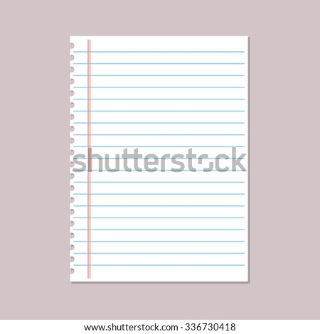 notebook paper sheet - stock vector