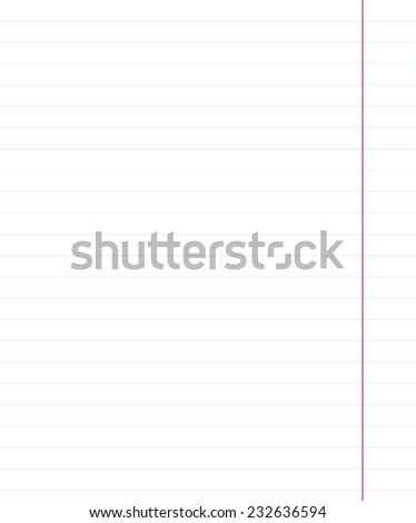 Notebook paper sheet with lines. Education background