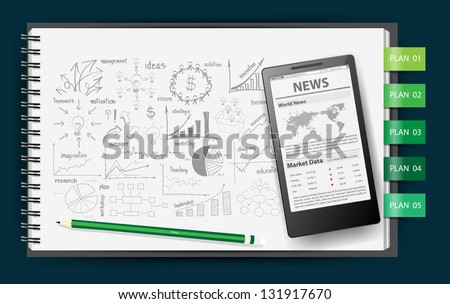 Notebook paper, With drawing business strategy plan concept idea, Mobile phone news  template on screen, Vector illustration - stock vector