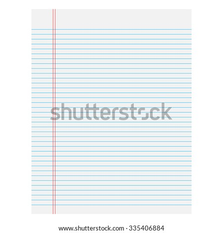 Notebook paper with lines on a white  background - stock vector