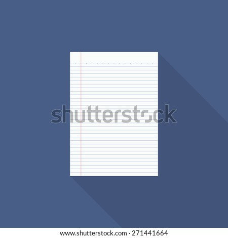 Notebook paper with long shadow - Vector 1 - stock vector