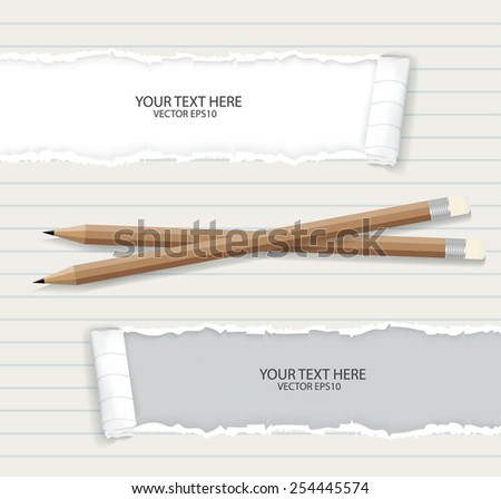 Notebook paper with pencils  - stock vector