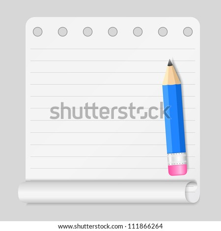 Notebook paper with small blue pencil, vector eps10 illustration