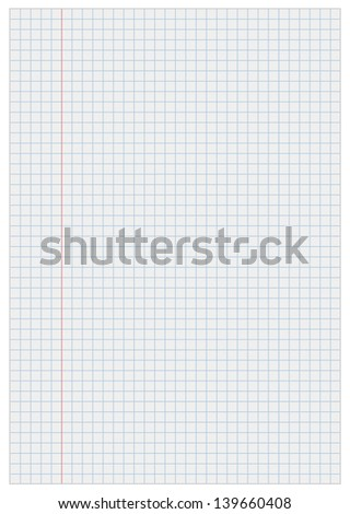Notebook paper with squares - stock vector