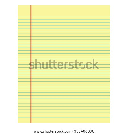 Notebook paper yellow colored on a white  background - stock vector
