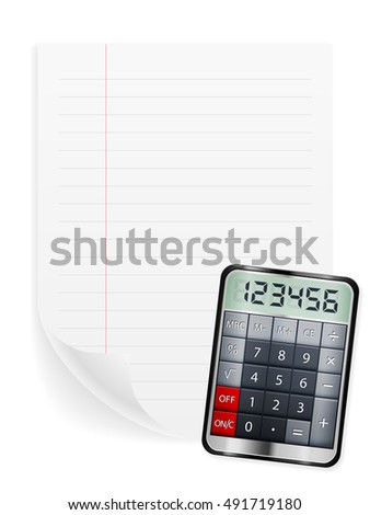Notebook sheet and calculator on a white background.