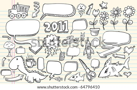 Notebook sketch Doodle Clip art Design Flower Speech Bubbles Elements Vector Illustration Set - stock vector