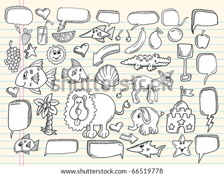 Notebook sketch Doodle Clip art Design summer Speech Bubbles Elements Vector Illustration Set