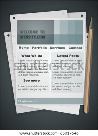 Notebook style website template. Fully vector, enjoy! - stock vector