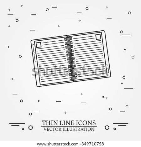 Notebook thin line design. Notebook pen Icon. Notebook pen Icon. Notebook pen Icon Drawing. Notebook pen Icon Image.Notebook  Icon Graphic. Notebook pen Icon Art. Thin line icon. - stock vector