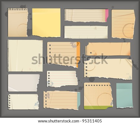 notebook torn  paper  objects - stock vector