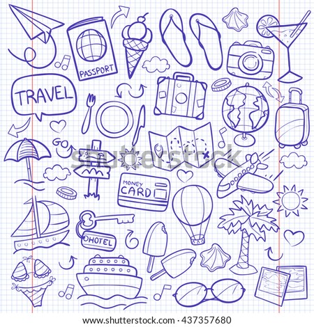 Notebook Travel Doodle Icons Hand Made