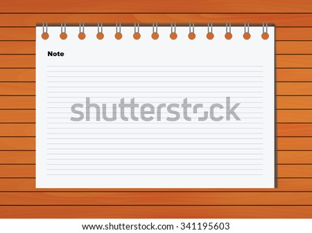 Notebook Vector on wood background