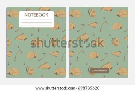 Notebook with adventure pattern with bags and boots