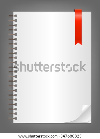Notebook with blank white sheet and red bookmark