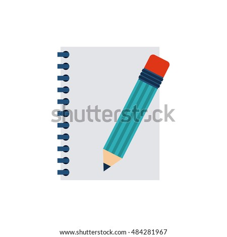 notebook with business icon vector illustration design