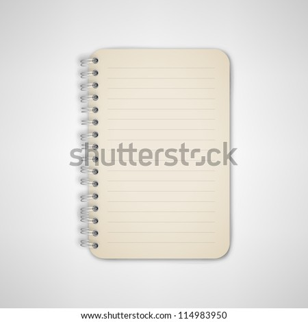 Notebook With Metal Binder Vector - stock vector
