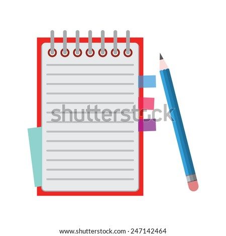 Notebook with pencil. - stock vector