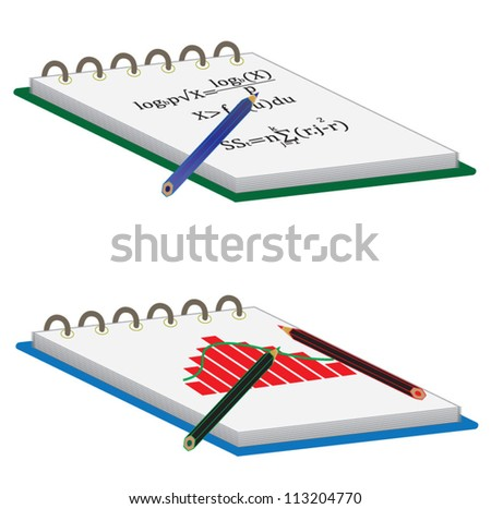 Notebook with pencil, school and mathematics subject - stock vector
