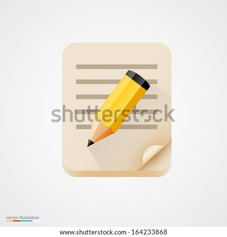 Notebook with pencil. Vector illustration - stock vector