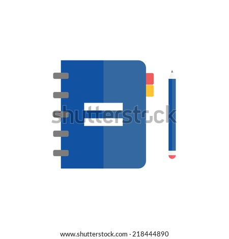Notebook with pencil. Vector illustration. Flat design - stock vector
