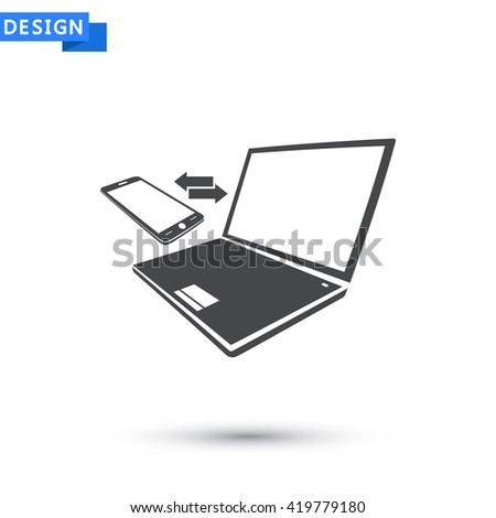 Notebook with phone sync symbol icon, Notebook with phone sync symbol pictograph, Notebook with phone sync symbol web icon, Notebook with phone sync symbol icon vector,  - stock vector