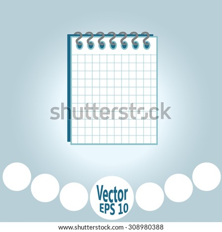 Notebook with sheets in a cage  - stock vector