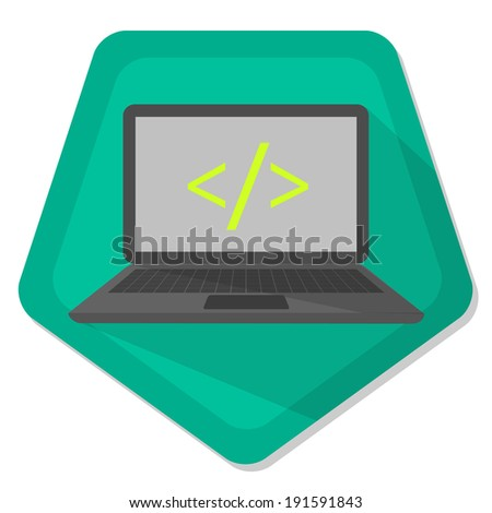 notebook with slash and less-than sign and greater-than sign on a green pentagon background