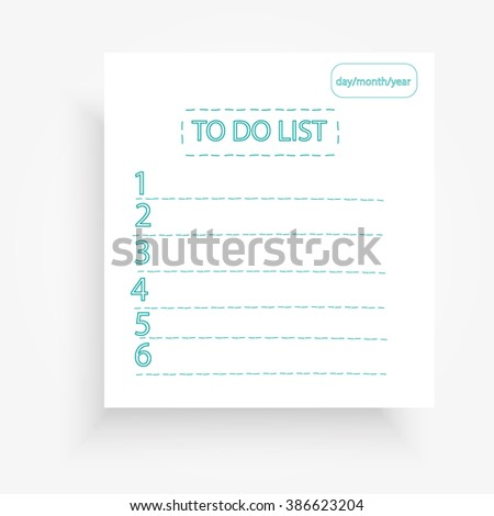 Notebook with to do list and numbers vector illustration eps10 - stock vector