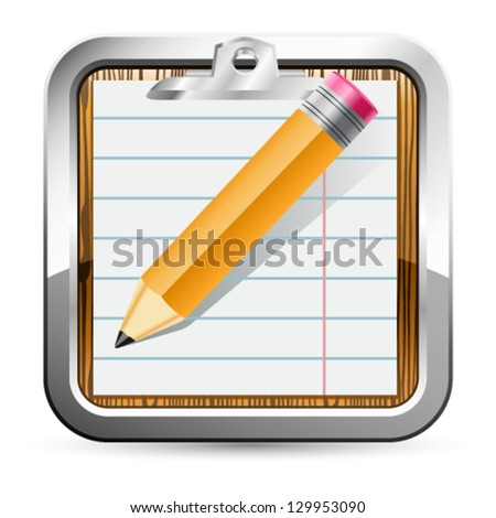 notepad and pencil icon - vector illustration - stock vector