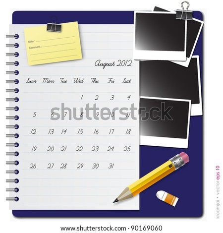 Notepad calendar 2012 August with photo frame and pencil - stock vector