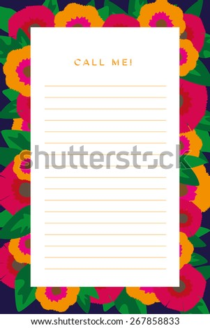 Notepad decorated with orange and pink flowers with different styles of green leaves. Use to write down missed calls. Vector and illustration design.