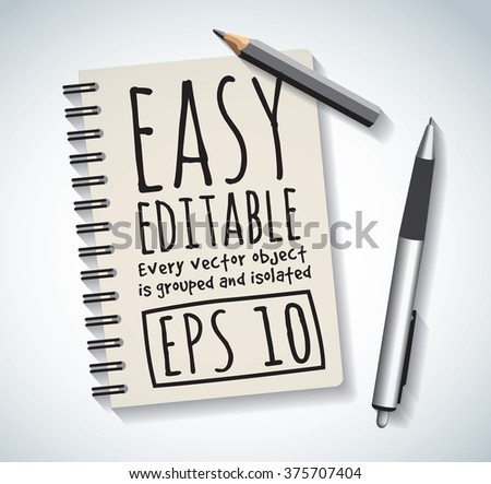 Notepad objects isolated flat design pen and pencil write. Color vector illustration. EPS10 - stock vector