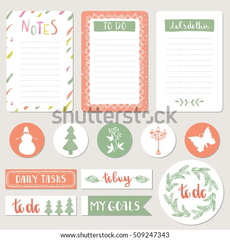 Notepad Stickers Tags Agenda Set Scrapbook Stock Vector Royalty