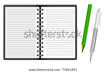 notepad with pen and pencil