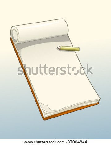 Notepad with pencil - stock vector