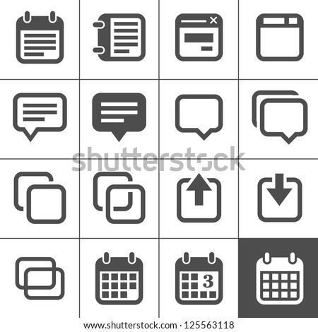 Notes and Memos Icons. Simplus series. Each icon is a single object (compound path) - stock vector