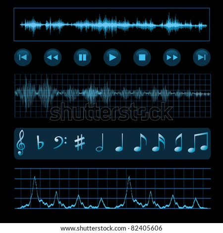 Notes, buttons and sound waves. Music background. - stock vector