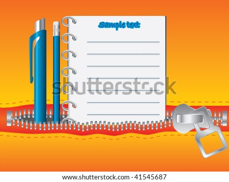 Notes in pocket - stock vector