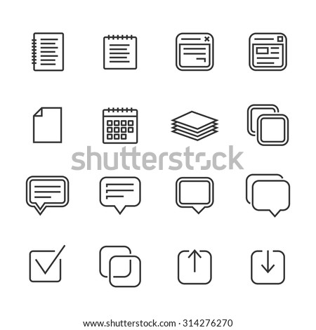 Notes, memos and plans linear icons. Outlined icons. Linear style