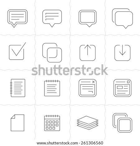Notes, memos and plans linear icons. Simple outlined icons. Linear style - stock vector