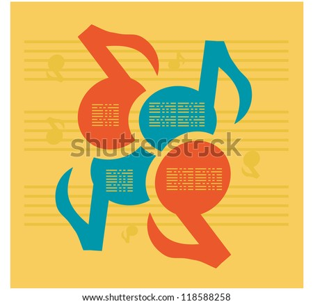 Notes Music colors background for information with space - stock vector